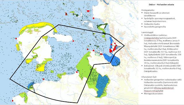 Kartta Oulun-Hailuodon edustasta. Karttaan merkitty suunnitteluun vaikuttavia kohteita.