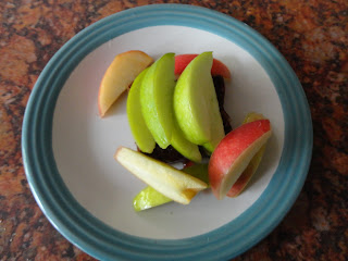 Apple Slices on Chocolate Soreen