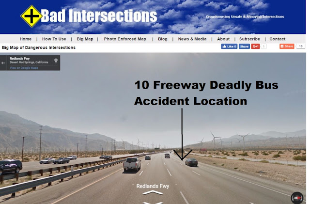 map of 10 freeway bus crash location