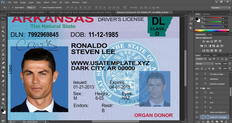 ca asia Uk Usa eu au Psd Template - Arkansas License Driver