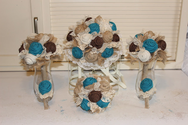 rustic turquoise burlap wedding flowers