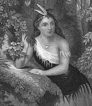 Pocahontas wearing a necklace