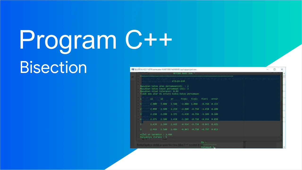 Membuat program C++ Bisection