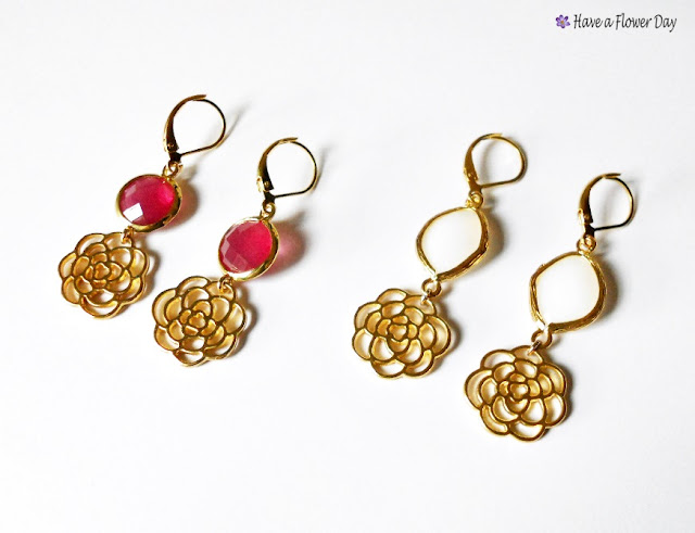 Pendientes con conector ágata y rosa dorada · Agate connector earrings with gold rose
