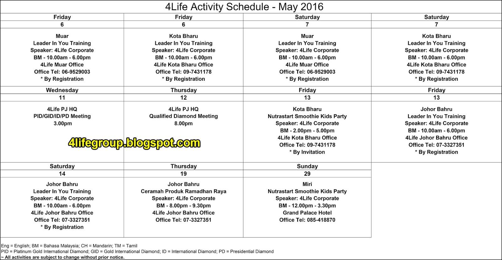 foto Jadual Aktiviti Bulanan Mei 2016 4Life Malaysia