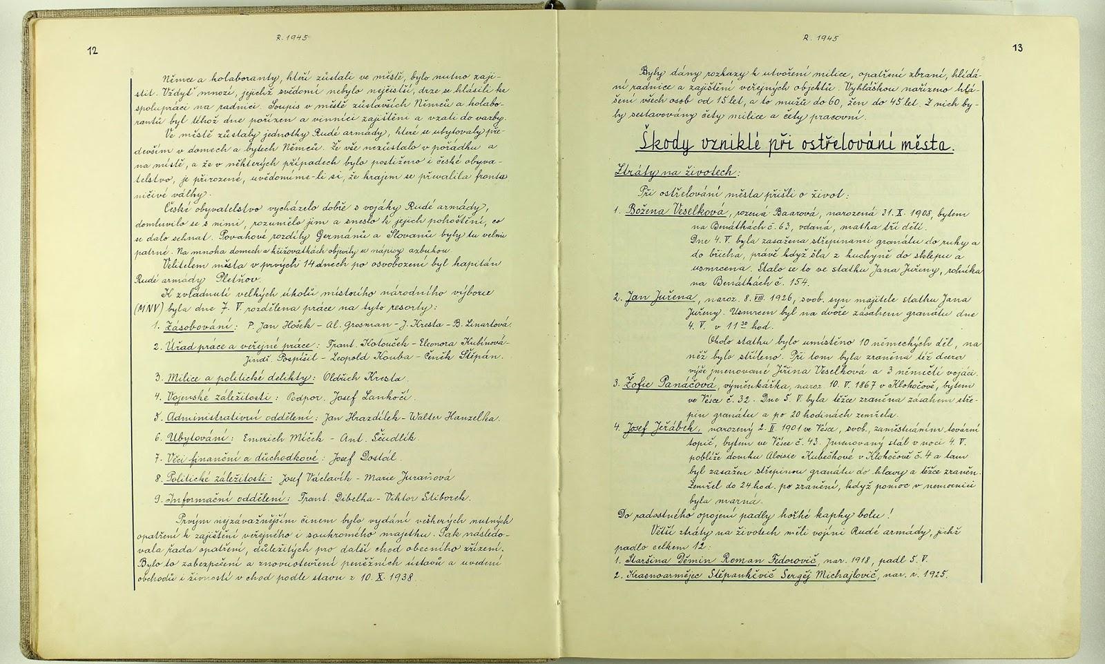 Летописи города Пршибор, 1945 год. Стр. 12-13