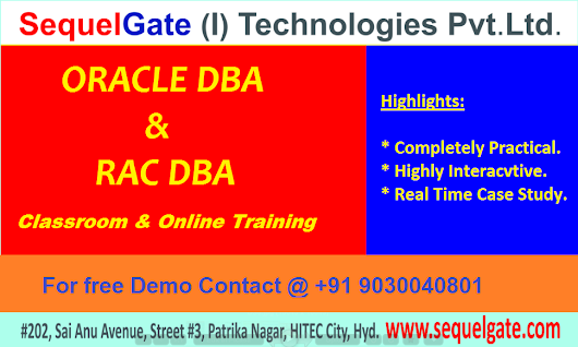 Best Practical Training on Oracle DBA @SequelGate