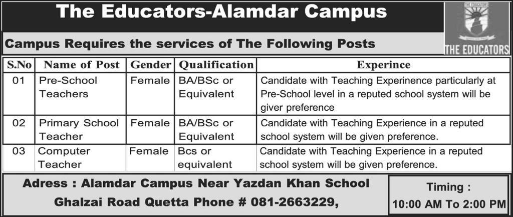 The Educators Alamdar Quetta Campus Jobs 2018