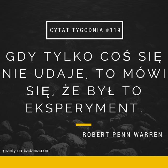 Gdy tylko coś się nie udaje, to mówi się, że był to eksperyment. - Robert Penn Warren