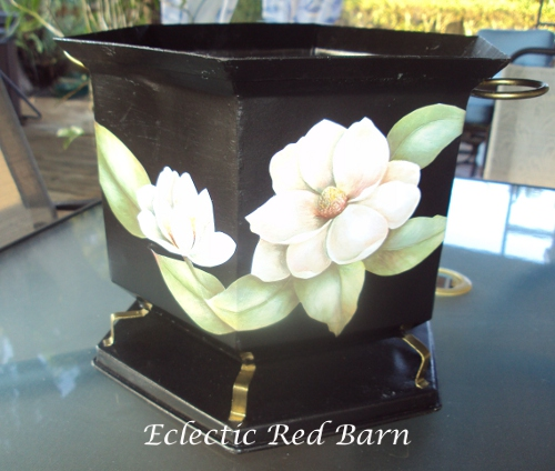 Black Metal Basket Decoupaged with Magnolias