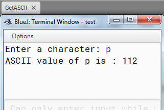 Find ASCII Value of Character in JAVA