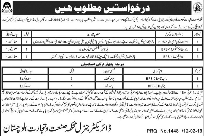 Industries-& Trade Department Quetta Jobs for Assistant Computer Operator