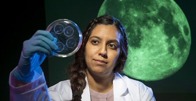 Sonia Tikoo, an assistant professor in Rutgers-New Brunswick's Department of Earth and Planetary Sciences, looks at moon rock samples in a Petri dish.   Photo: Nick Romanenko/Rutgers University