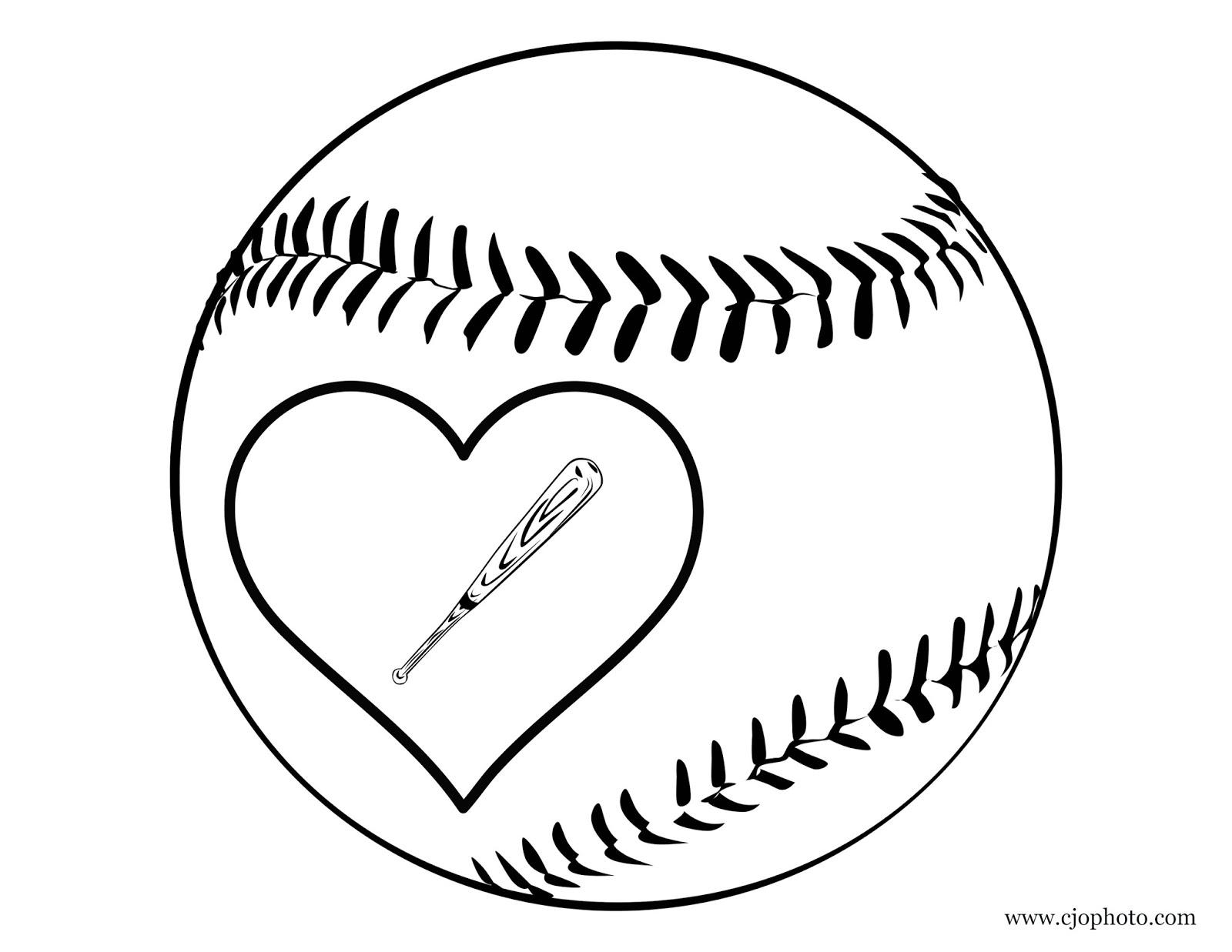 Cjo Photo Heart Baseball Coloring Page