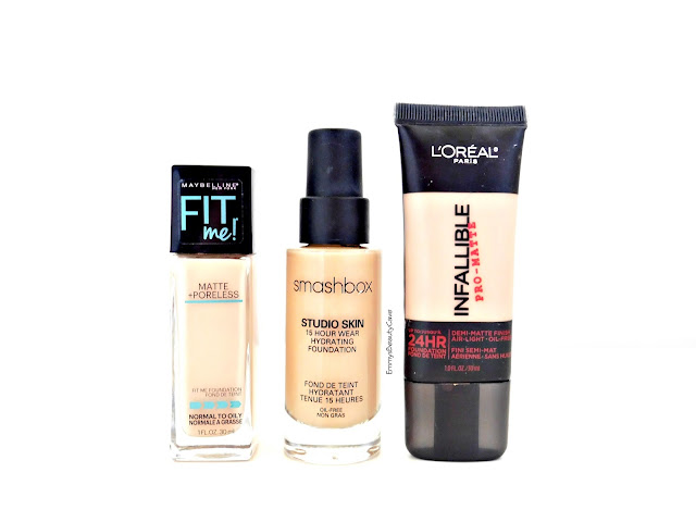Foundations for oily skin, Maybelline Fit Me Matte and Poreless, Smashbox Studio Skin Foundation, LOreal Infallible Pro Matte