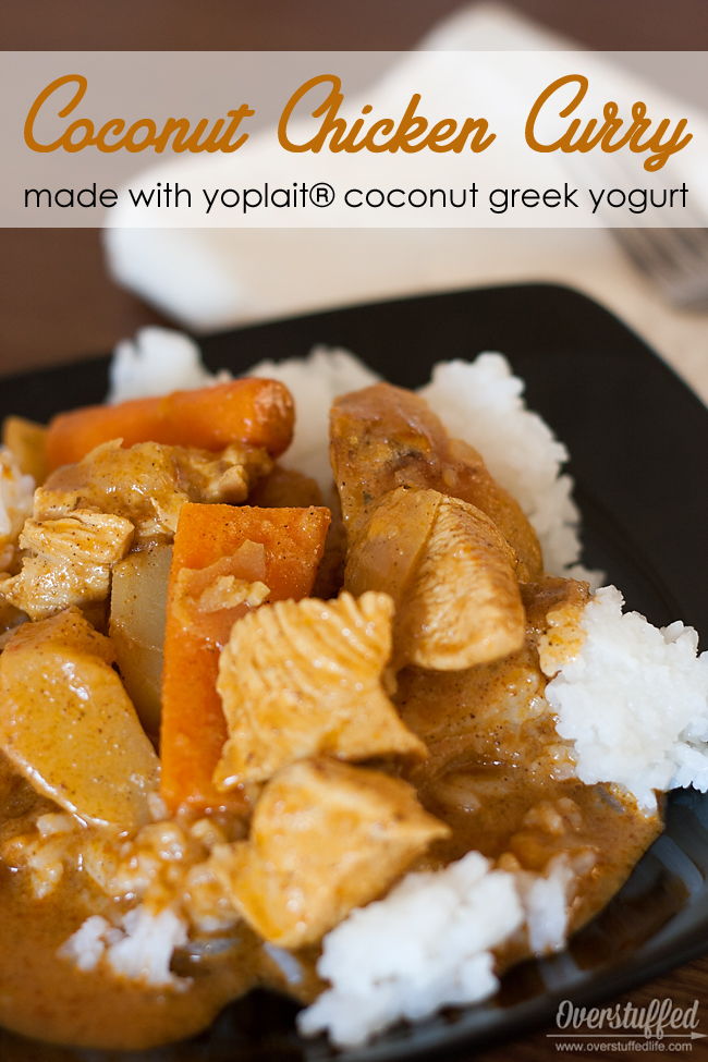 If you like curry, you will LOVE this coconut chicken curry recipe made with coconut yogurt. It is so good! #overstuffedlife