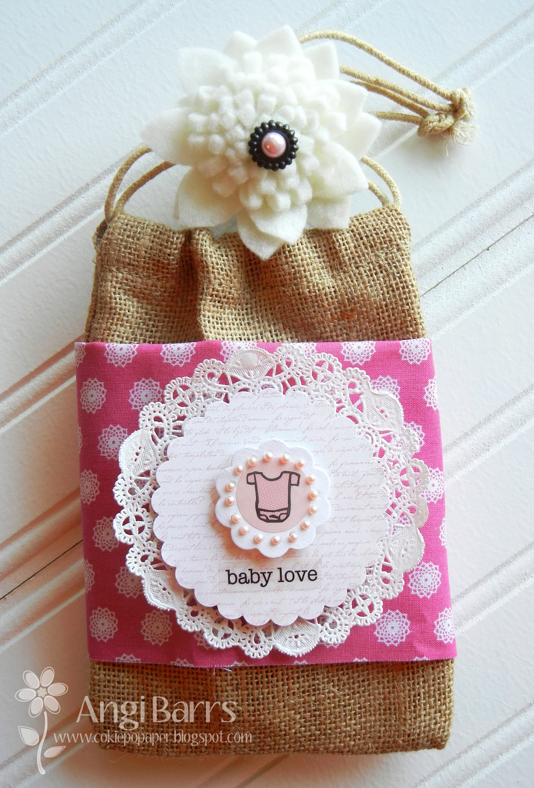 Baby Gift Sack : Cokie pop designs jute baby gift bag
