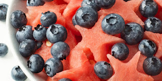 Watermelon and blueberry star spangled salad.