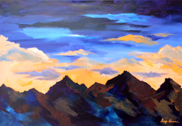 Mountains Sunset Painting Amazing Wallpapers