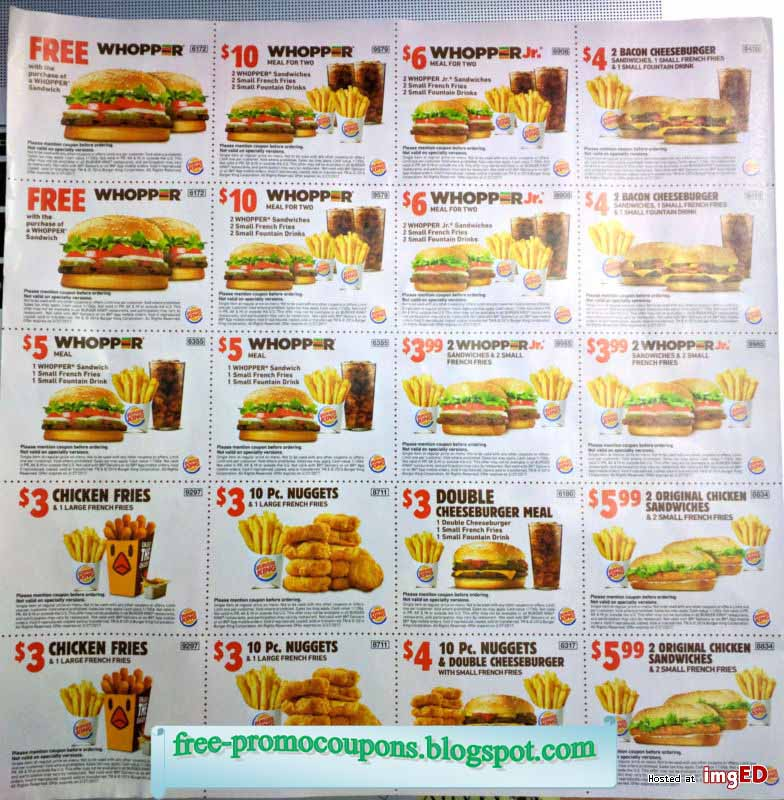 picture relating to Burger King Printable Application titled Printable coupon codes for burger king : Occupied Promotions