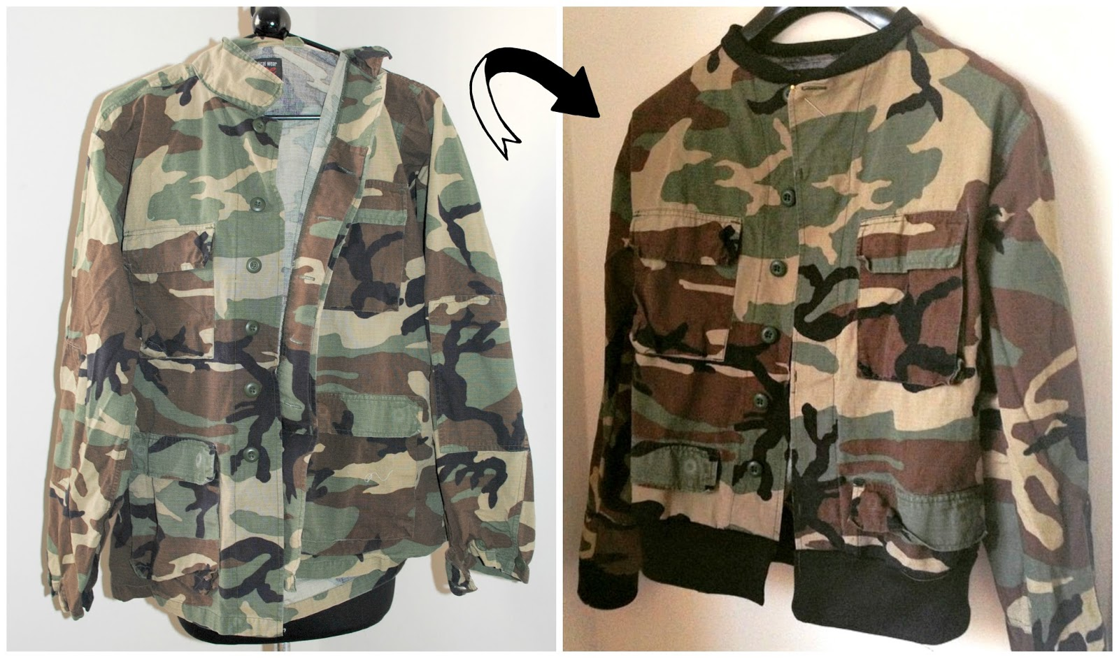 Trash To Couture: DIY bomber jacket from collared shirt