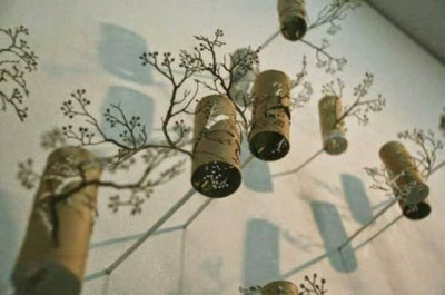 Bunga tiga dimensi, hiasan dinding dari kertas bekas tissue roll