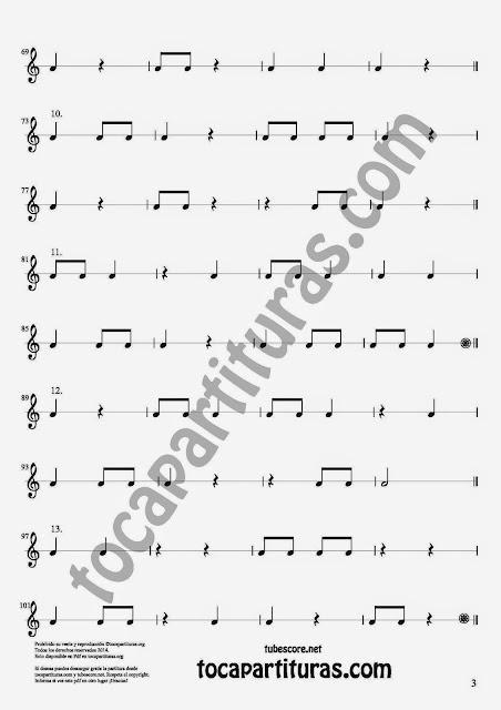 3. 27 Ejercicios Rítmicos para Aprender Solfeo en el Compás de 2/4 Aprender negras, corcheas, blancas y sus silencios. Easy Rithm Sheet Music for quarter notes, half notes, 1/8 notes and silences