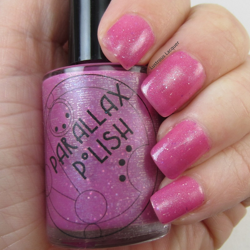 Pink-Jelly-nail-polish-with holographic-glitter