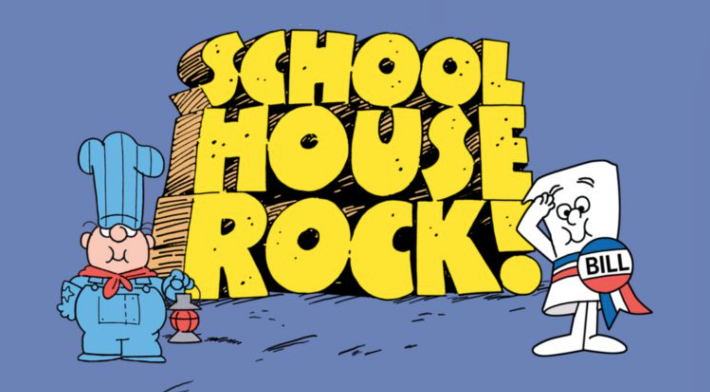 Schoolhouse Rock logo with conductor from 'Conjunction Junction' and title character from 'I'm Just a Bill'