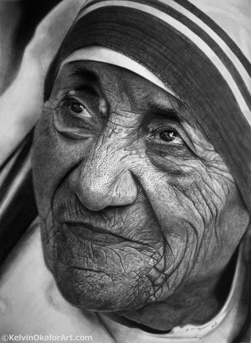 16-Mother-Teresa-Kelvin-Okafor-Celebrity-Portrait-Drawings-Full-of-Emotions-www-designstack-co