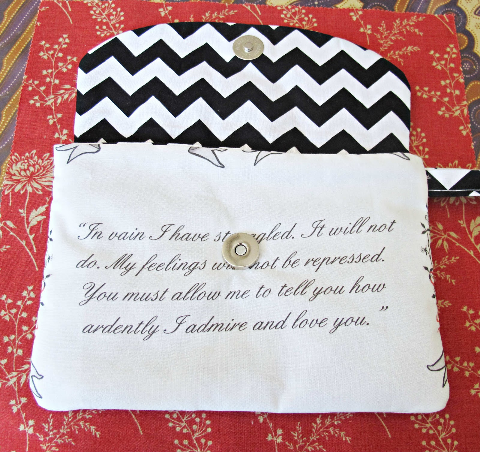 image mr darcy wristlet purse pride and prejudice mr darcy's proposal jane austen spoonflower fabric chevron black white riley blake