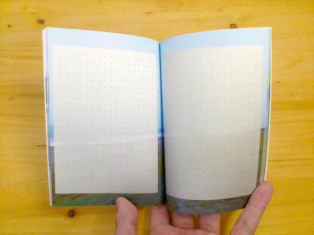 見開きページにメモのテンプレートを重ねたオリジナルノート