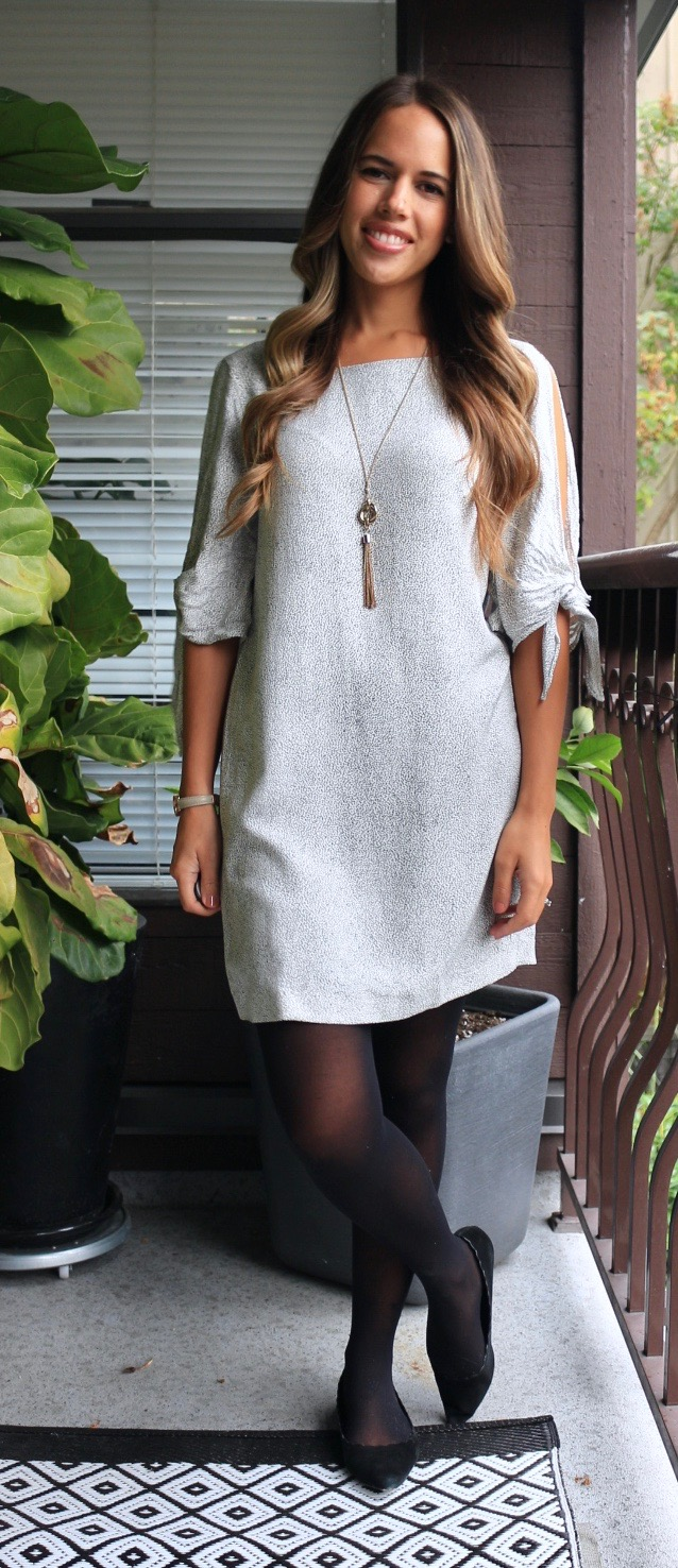 Jules in Flats - H&M Tie-Sleeve Shift Dress for Work (Fall Workwear on a Budget)