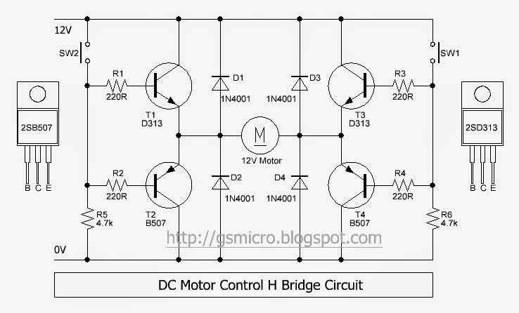 DC Motor Control H-Bridge Circuit ~ GSmicro