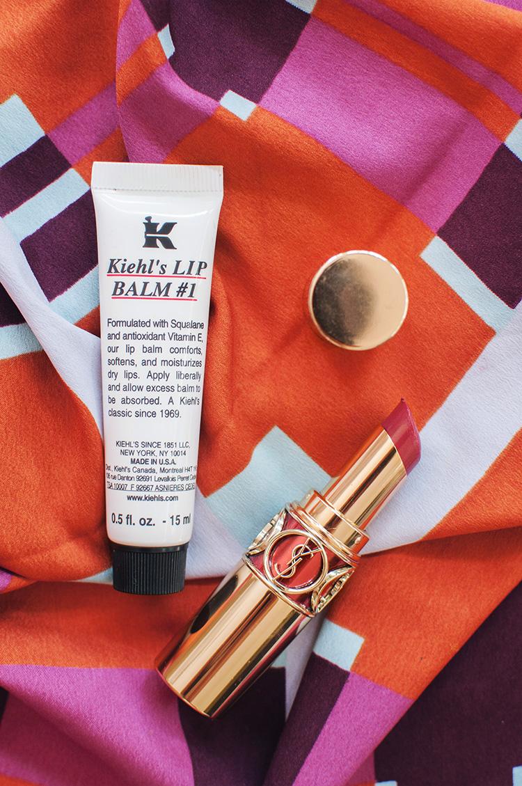 kiehl's #1 balm review, ysl rouge volupte shine 17, ysl rouge volupte shine, glossy lip favorites