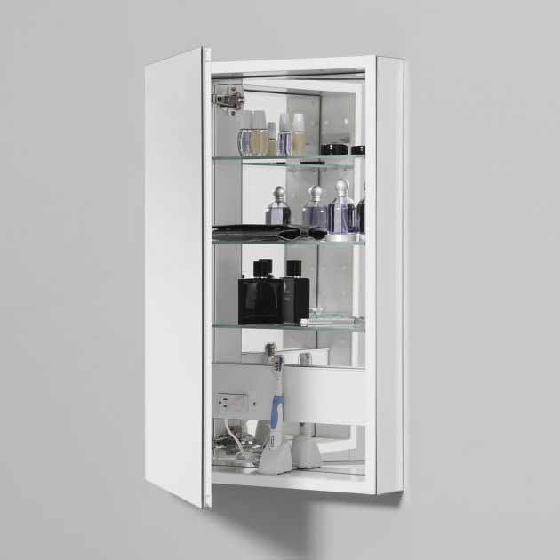 this robern medicine cabinet with pencil edge and white interior