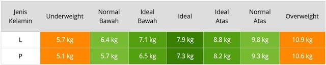 Tabel Berat Badan Normal Bayi Usia Enam Bulan