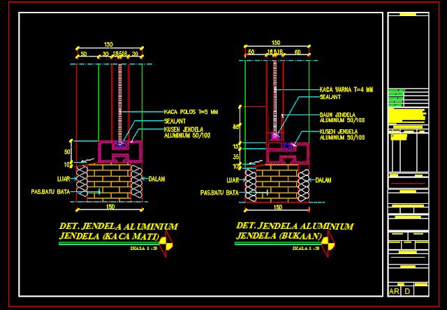 Gambar Detal Kusen Jendela Aluminium Dwg