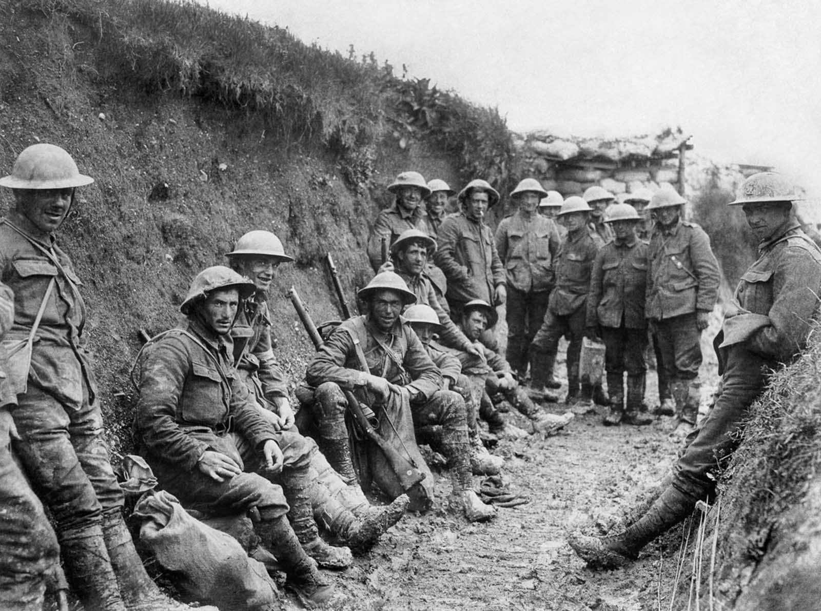 Men of the Royal Irish Rifles rest during the opening hours of the Battle of the Somme. July 1, 1916.