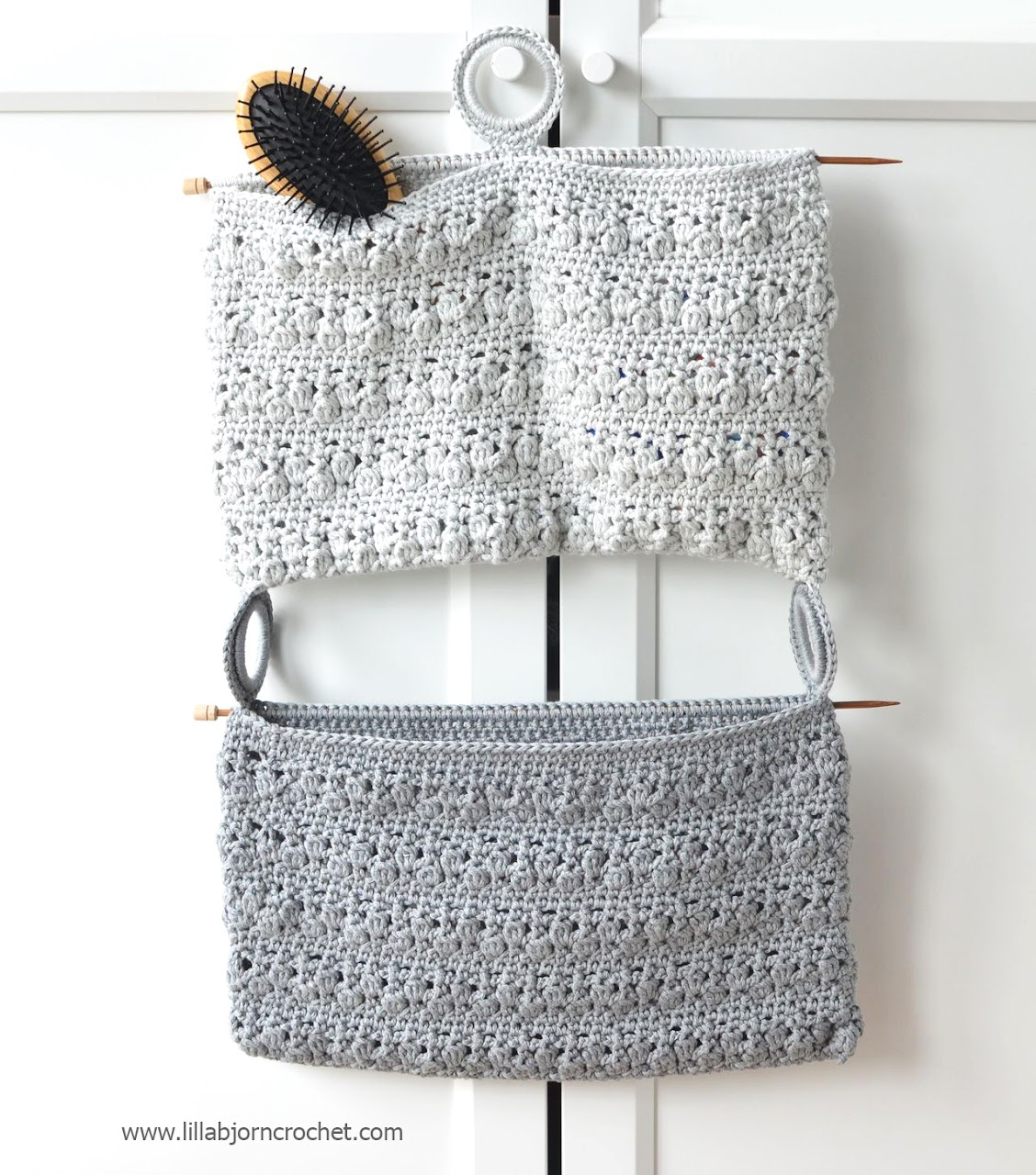 Crocheted Bathroom Organizer - a unique and stylish accessory for every bathroom. Designed by Lilla Bjorn Crochet