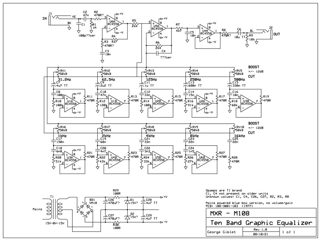 Mxr M100 Ten Grafic Equalizer Elektro Jiwaku