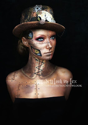 Steampunk special fx makeup video tutorial for gold robot with rivets and fears beneath its skin. makeup idea for men and women, halloween costumes and cosplay