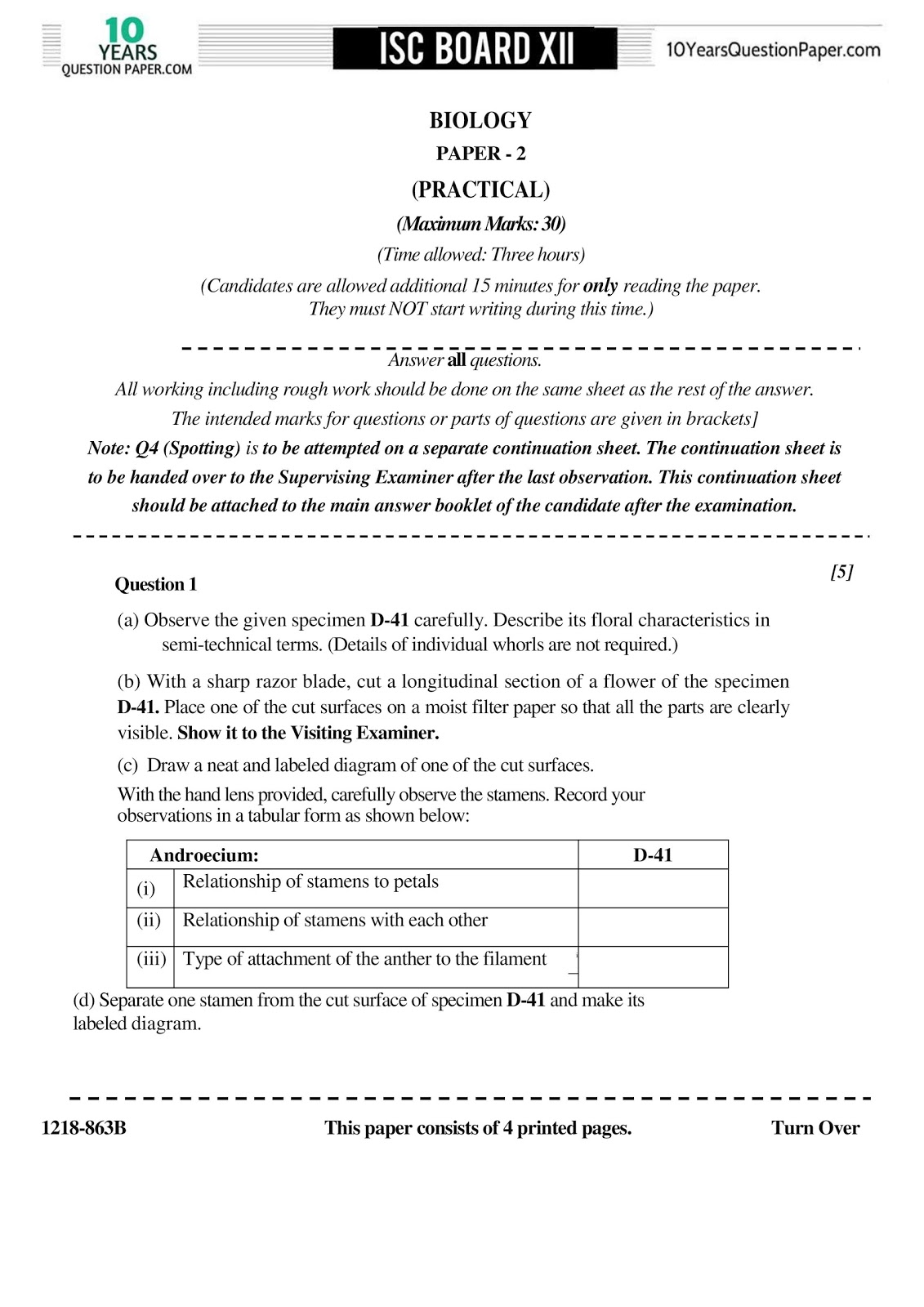 isc 2018 class 12th biology practical question paper