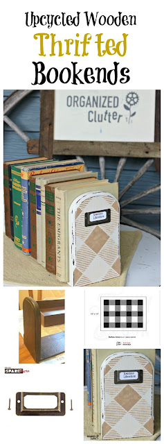 Upcycled Wooden Thrift Shop Bookends www.organizedclutter.net