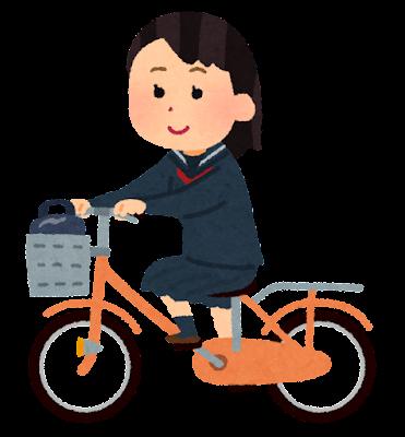 自転車通学のイラスト(セーラー服・女子学生)