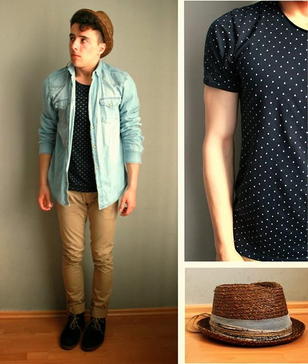 61aa330d08 Camiseta Masculina com estampa Poá! Vale a pena também ver as Dicas pa usar  Jaqueta Jeans e Calça Marrom!