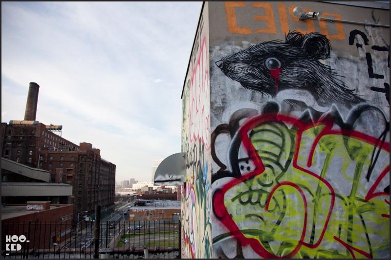 Belgian street artist Roa rat mural in Williamsburg New York