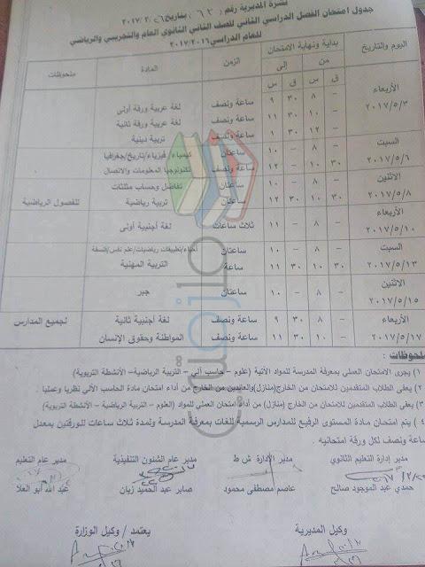 جدول امتحانات الصف الثاني الثانوي 2017 الترم الثاني محافظة قنا