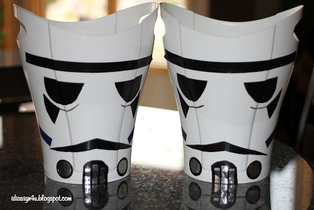DIY Trooper Trash Cans for Star Wars Birthday Party  by ilovedoingallthingscrafty.com