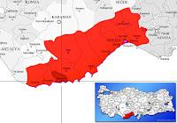 Mersin Aydıncık ilçesinin nerede olduğunu gösteren harita